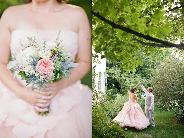 LOVE those flowers! Blush Pink Maine Wedding