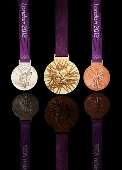 2012 London Olympics silver, gold, and bronze medals