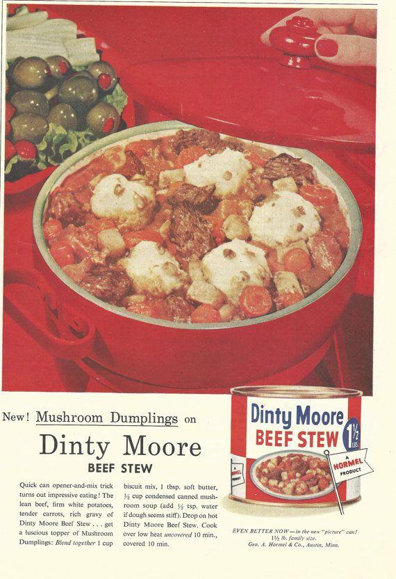 Dinty Moore Beef Stew Original 1957 Vintage by VintageAdarama, $9.99