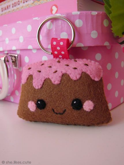 Strawberry cake keychain by she.likes.cute, via Flickr
