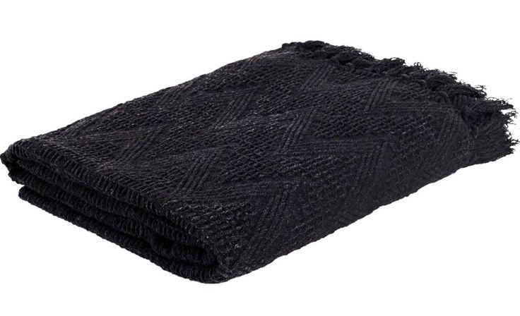 Plaid Yara zwart - Haal een beetje warmte in huis met dit Bohemian plaid - Goossens wonen & slapen