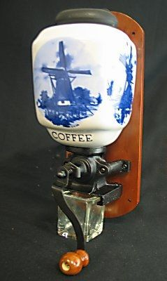 Netherlands Coffee Grinder, Delft Blue Wall Mount. I love the blue and white!