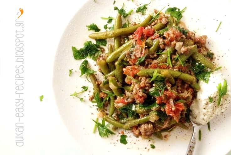 dukan-easy-recipes: Minced meat with green beans, Dukan in a pan - Φασολάκια με κιμά στο τηγάνι