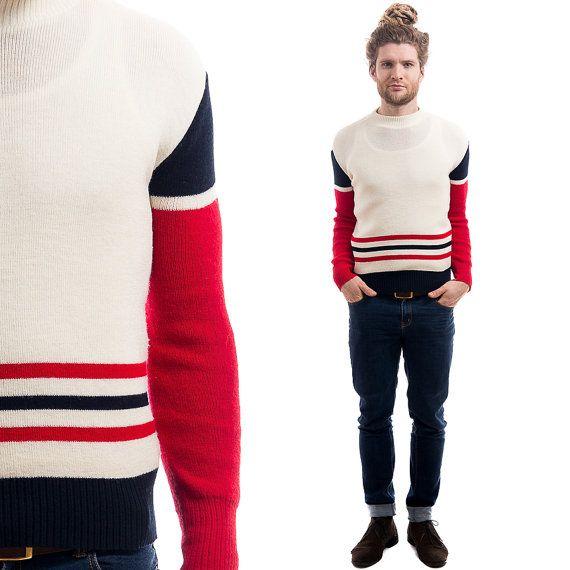 1980s RETRO PULLOVER Sweater . Vintage 80s Mens by BetaMenswear