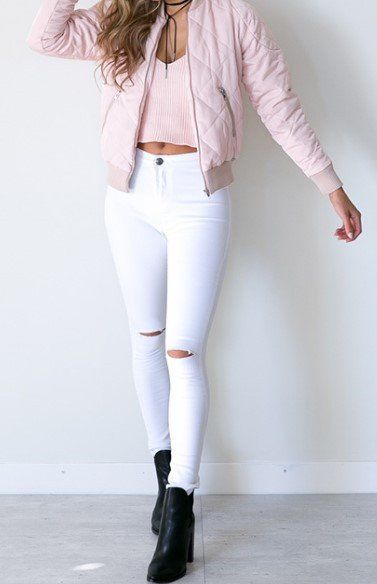 Summer Style White Ripped Jeans For Women
