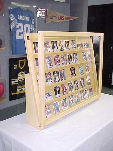 1/2 Tabletop baseball card display case / Golden Oak With Super Legs