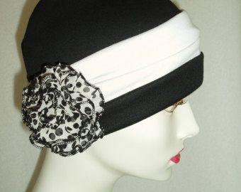 Hat Chemo Black Cap w Headband and Pin Alopecia Sleep Cap Cloche Turban