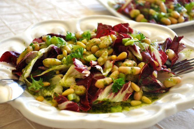 Cannellini Beans & Radicchio Salad with Pine nuts and Parsley Vinaigrette recipe
