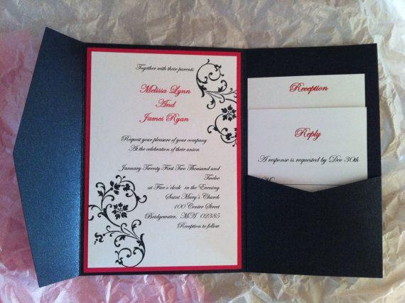 Onyx Black Pocket fold Wedding invitation Set by stampingblock, $4.25 Another good example of the pocket fold
