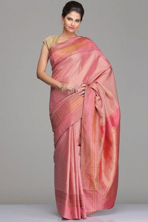 Buy Kanjeevaram Silk Sarees Online | Self-Striped Coral Pink Kanjivaram Silk Saree With Half-Fine Gold Zari Striped Border Pallu With Floral Motifs | IndiaInMyBag.com
