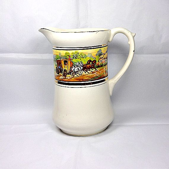 'In Shakespeare's Time' vintage jug decorated with a scene of bygone rural England.