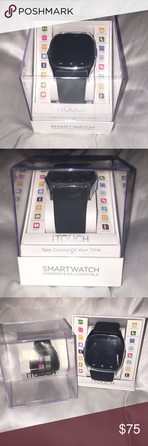 Itouch 3360 Smart Watch NEW Dialer  messaging  call log photos  Bluetooth settings  camera remote  notifier Sleep monitor  stopwatch  alarm  pedal meter  music  calculator  Lost alert  sleep monitor Itouch Accessories Watches