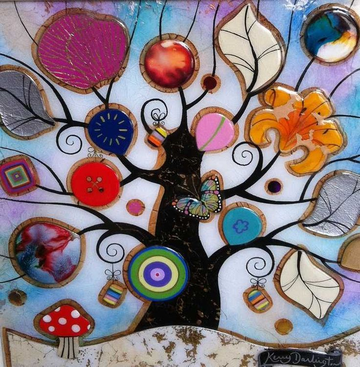Tree Of Harmony Toadstool Original by Kerry Darlington*SOLD*   -   The Acorn Gallery
