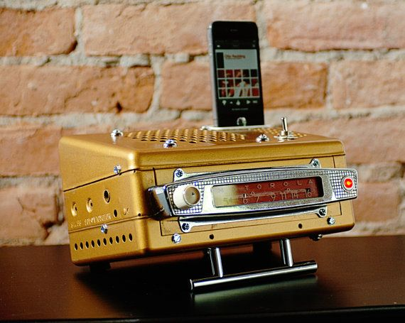ipod iphone charging station with speakers from vintage car radio.