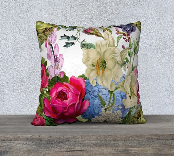 Beautiful Large Multicolored Vintage Flowers Velveteen by nantulov