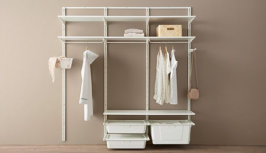 The versatile ALGOT system lets you create your own storage combination to organize your home. Mix shelves, drawers, shoe organizers – just click the brackets into the wall uprights, no tools needed. Comes in white and looks good also in your bathroom.