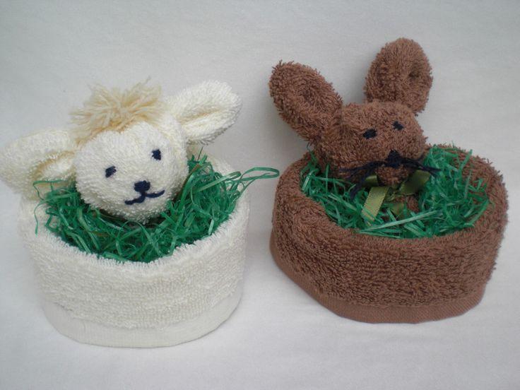 Osterhasen - Hase oder Schaf im Nest, 4 Stück im Set  - ein Designerstück von Pfiffiges bei DaWanda