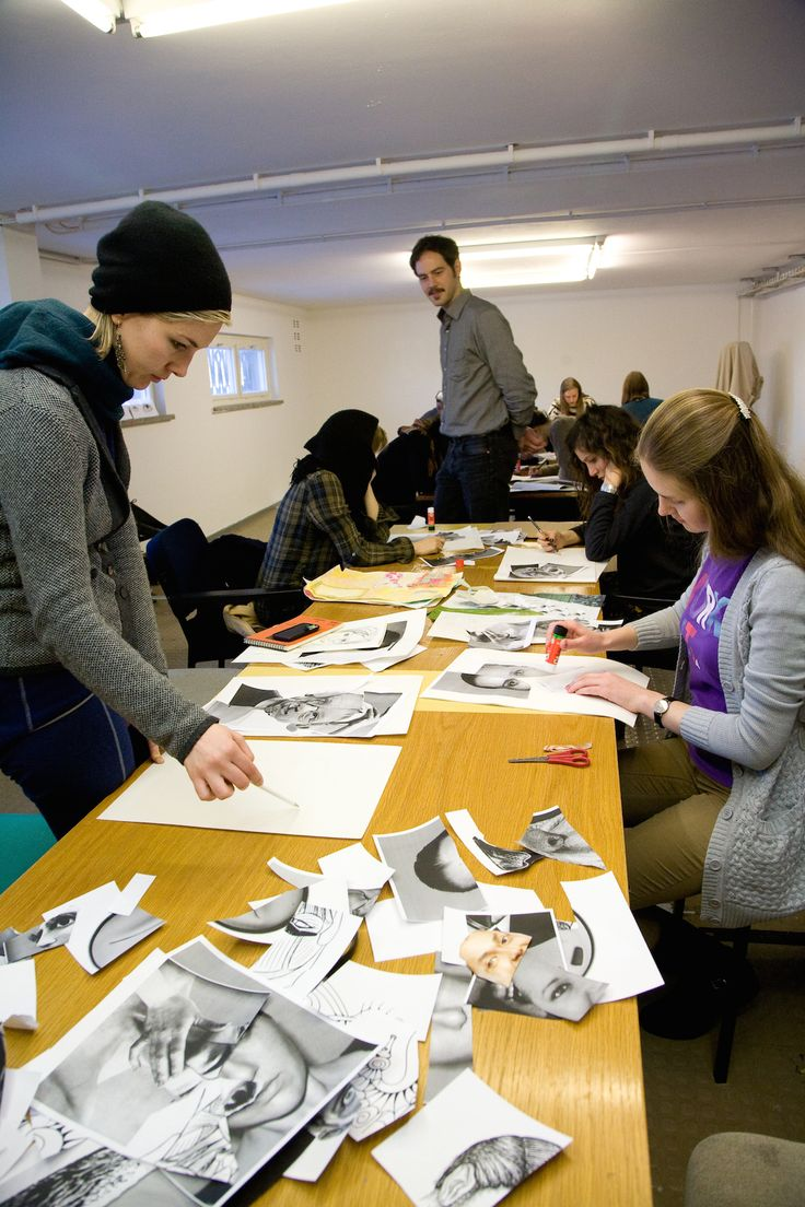Students experiment with collages during a drawing class led by John Kleckner