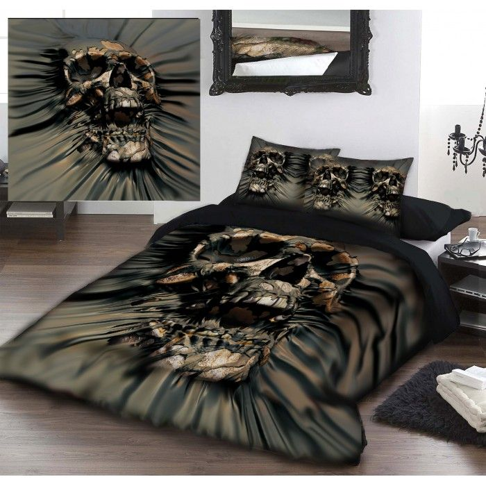 (TRADE) A Wild Star Home SKULL RIP-THRU Double Bed Linen Duvet Covers Set Artwork by David Penfound