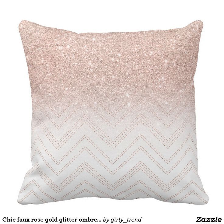 Chic faux rose gold glitter ombre modern chevron throw pillow