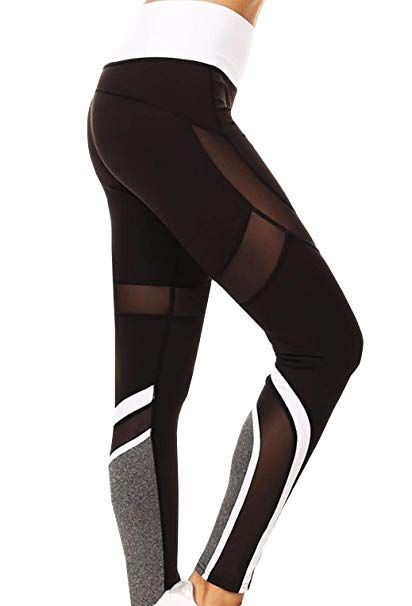 de80d0d88 Runner Island Black Mesh Speedway Club Leggings High Waist Tummy Control  Compression for Running (Large X-Large)
