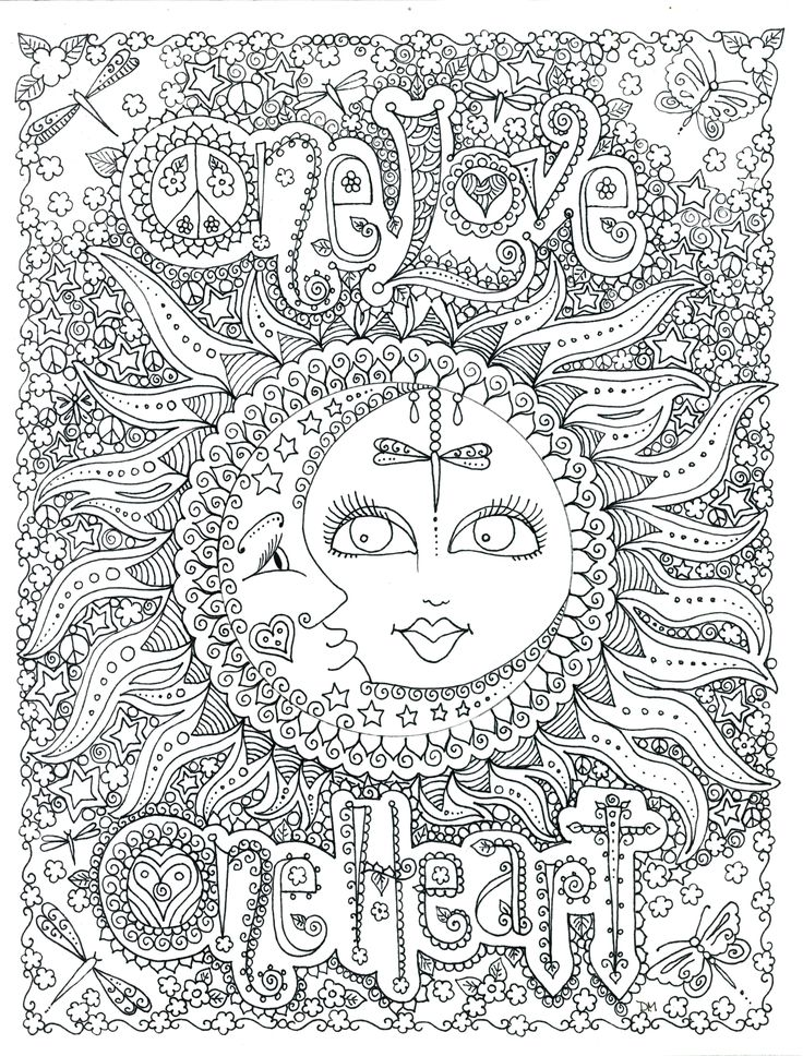 One Love Heart Coloring Page By Chubby Mermaid