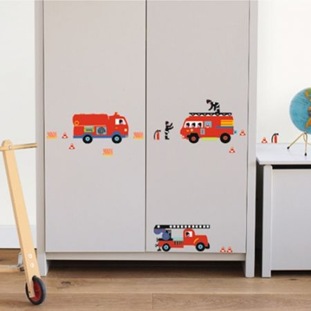Muursticker Brandweerauto's | Kids Decoshop