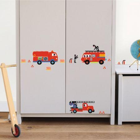Muursticker Brandweerauto's | Kids Decoshop