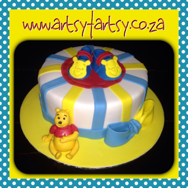 Winnie the Pooh Baby Shower Cake #winniethepoohcake #winniethepoohbabyshower