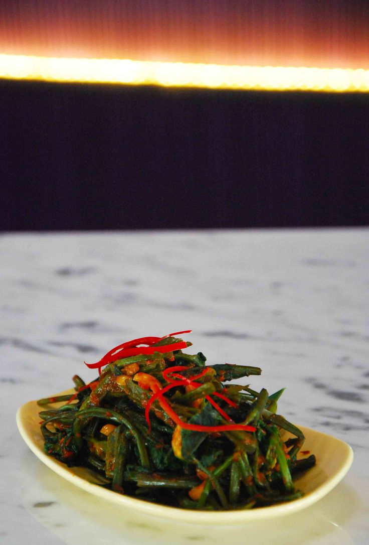"""Tumis Kangkung"" Stir Fried Water Spinach with Shrimp Paste Gravy"