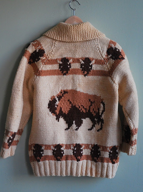 Bison print cowichan sweater.