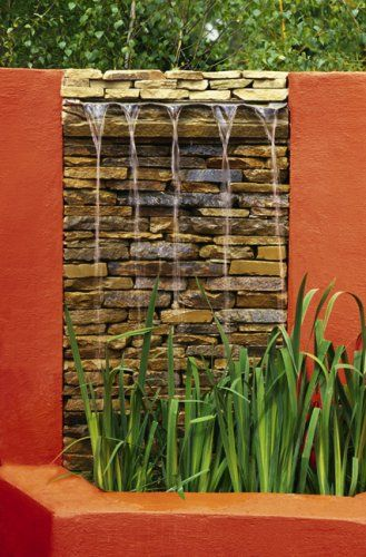 Red wall water feature