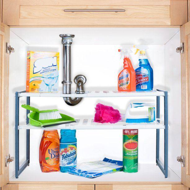 Stalwart Adjustable Sink Organizer Walmart Com Under Sink Storage Under Sink Shelf Under Sink Organization