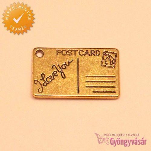 Aranyszínű képeslap - nikkelmentes fém zsuzsu / fityegő • Gyöngyvásár.hu