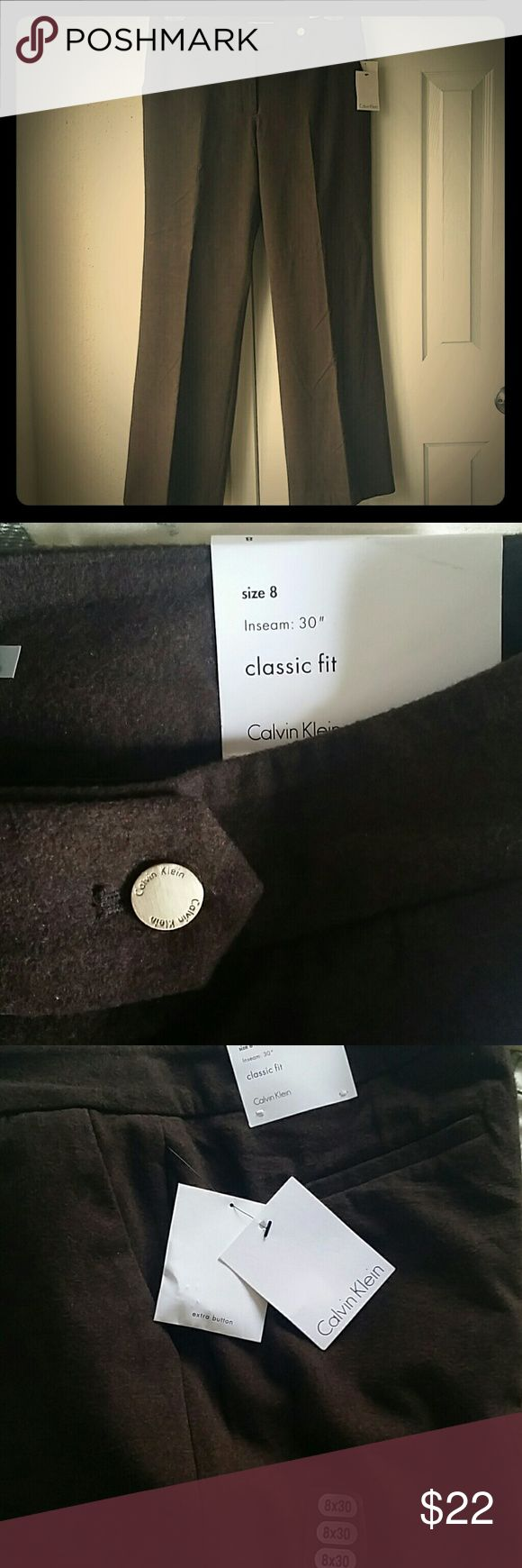 """Calvin Klein Classic fit woman's Trousers Brown brushed wool feel to it. Never worn Calvin Klein Woman's Trousers. Size 8, 30""""inseam. Calvin Klein Pants"""