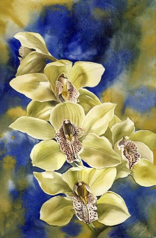 Watercolor flowers orchids yellowYellow Orchids Flowers