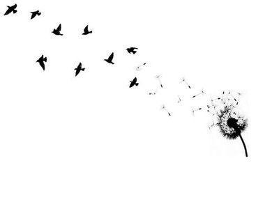 Feather with Birds Flying Tattoo | birds tattoo, dandelion tattoo, feather tattoo // tatuaże ptaki ...