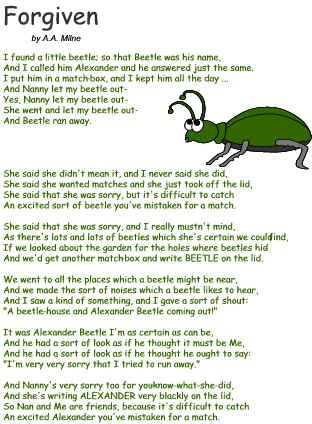 """The first poem """"I learned by heart"""" ~ Now We Are Six ~ Alexander Beetle, my ole pal..."""