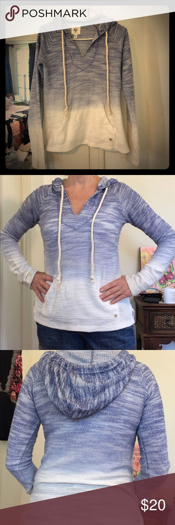 Billabong hoodie. Hardly worn. Shades of blue and white with front pocket and drawstring hoodie. Super cozy! Billabong Tops Sweatshirts & Hoodies