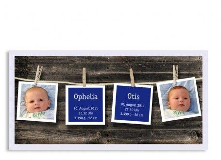 Zwillingskarten Ophelia/Otis  Auf der Alm, da gibt's gleich zwei Kinder! Unsere Geburtskarte für Zwillinge Ophelia/Otis.  Zwei Fotos sowie die Geburtsdaten Ihrer Babys werden auf der Vorderseite dieser Zwillingskarte abgedruckt. Die Rückseite bietet viel Platz für Ihren ganz persönlichen Text und die Absenderadresse.