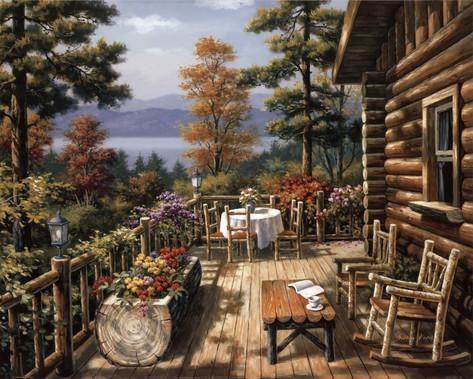 Log Cabin Porch Arte por Sung Kim en AllPosters.es