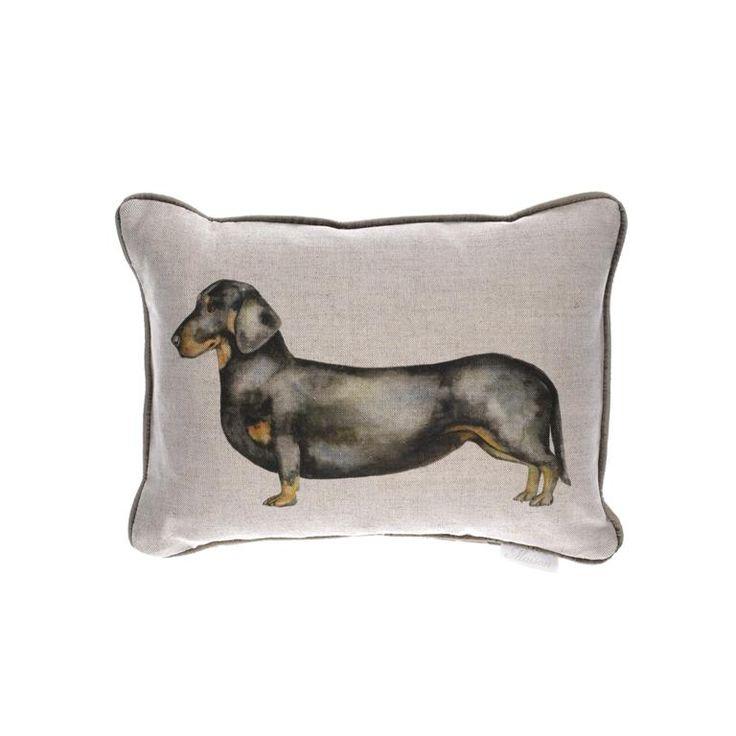 Voyage Maison Dachshund Cushion Available at www.thegreatbritishhome.com #madeinbritain #homedecor #cushion #thegreatbritishhome #dachshund #sausagedog #watercolour #voyagemaison