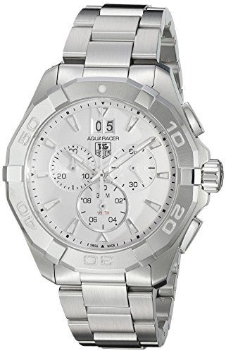 TAG Heuer Men's 'Aquaracer' Swiss Quartz Stainless Steel Dress Watch, Color:Silver-Toned (Model: CAY1111.BA0927)