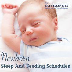 Sample newborn feeding and sleep schedules, for breastfeeding and formula fed newborn babies. Also, tips on newborn sleep patterns, and newborn growth spurts.