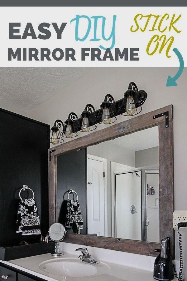 Diy Stick On Mirror Frame Stick On Mirror Bathroom Mirrors Diy