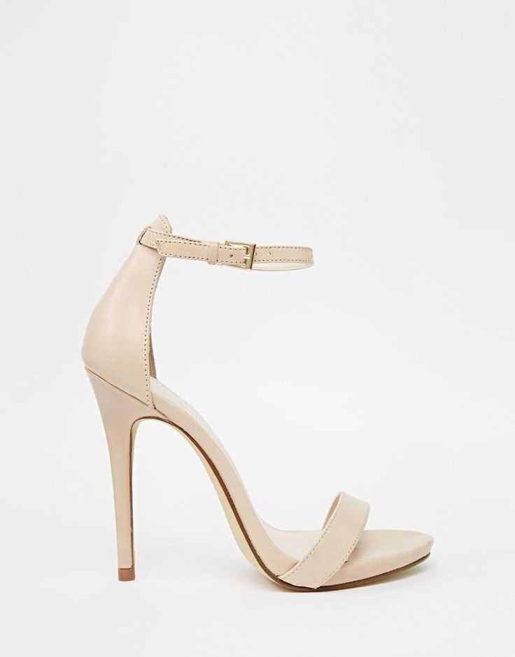 Image 2 of New Look Paz Nude Leather Barely There Heeled Sandals