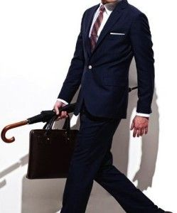 Business outfit, businessman, umbrella, men's bag. Learn how to make powerful first impression >>> http://justbestylish.com/how-to-make-powerful-first-impression/