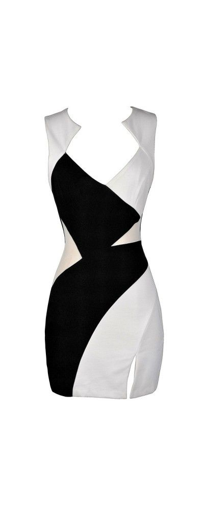 Opposite Sides Black and Ivory Colorblock Dress  www.lilyboutique.com