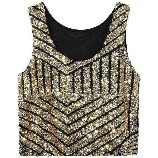 Yoins Gold Striped Crop Vest (890 RUB) ❤ liked on Polyvore featuring tops, crop tops, shirts, yoins, camisoles & tank tops, gold, striped shirt, sequin crop top, crop top and gold shirt