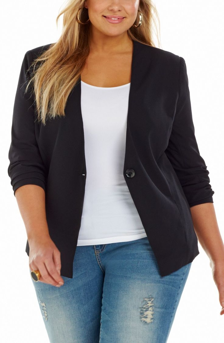 Single Button Front Jacket black Style No: JK11119 Fully Lined Crepe Jacket. This jacket has 3/4 sleeves that have a ruched detail at the cuff line. It has a single button on a peaked shape . #dreamdiva #dreamdivafiles #plussize